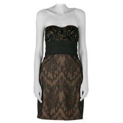 Marchesa Notte Black Chantilly Lace Embellished Bodice Strapless Pencil Dress S