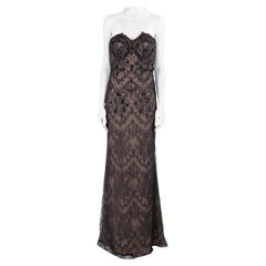 Marchesa Notte Black Embellished Lace Overlay Strapless Evening Gown M