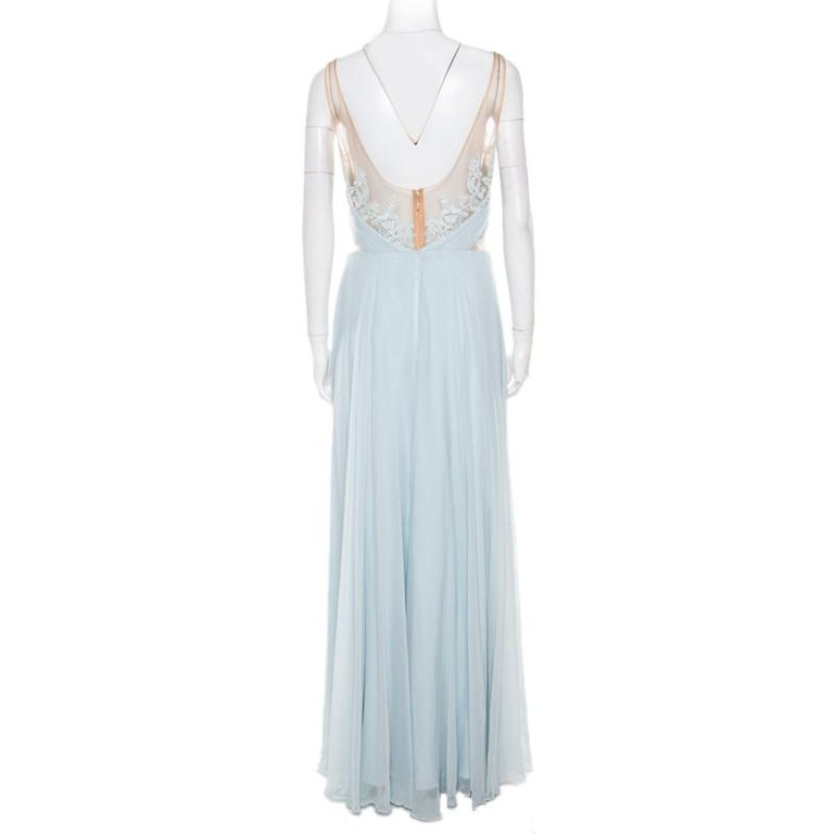 Gray Marchesa Notte Blue Embellished Embroidered Silk Sheer Panel Detail Gown L For Sale