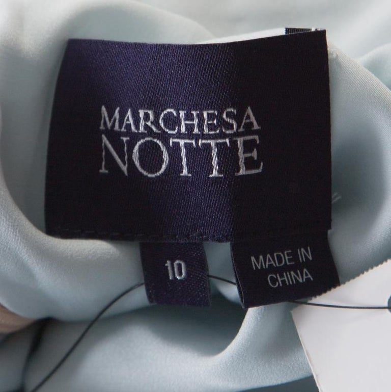 Marchesa Notte Blue Embellished Embroidered Silk Sheer Panel Detail Gown L In New Condition For Sale In Dubai, Al Qouz 2