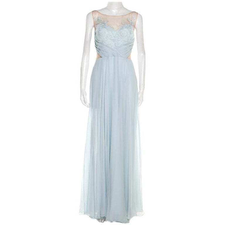Marchesa Notte Blue Embellished Embroidered Silk Sheer Panel Detail Gown L For Sale