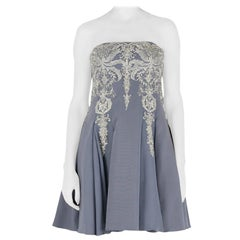 Marchesa Notte Grey Cotton Silk Tulle Embroidered Applique Strapless Dress S