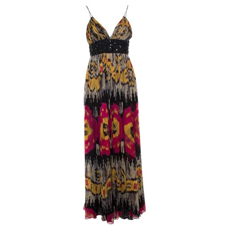ea298f46aa4 Marchesa Notte Multicolor Ikkat Printed Silk Embellished Sleeveless Maxi  Gown S For Sale