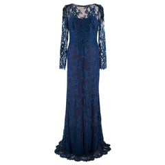 Marchesa Notte Navy long sleeve lace gown - Size US 0