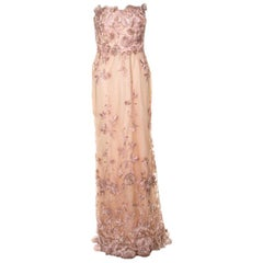 Marchesa Notte Peach Floral Embroidered Sequin Embellished Detail Strapless Even