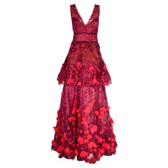 Marchesa Notte Pink Gown with Flower Appliques Throughout