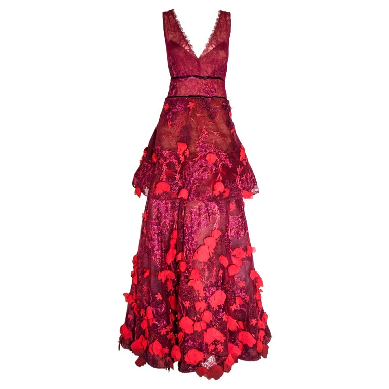 Marchesa Notte Pink Gown with Flower Appliques Throughout For Sale