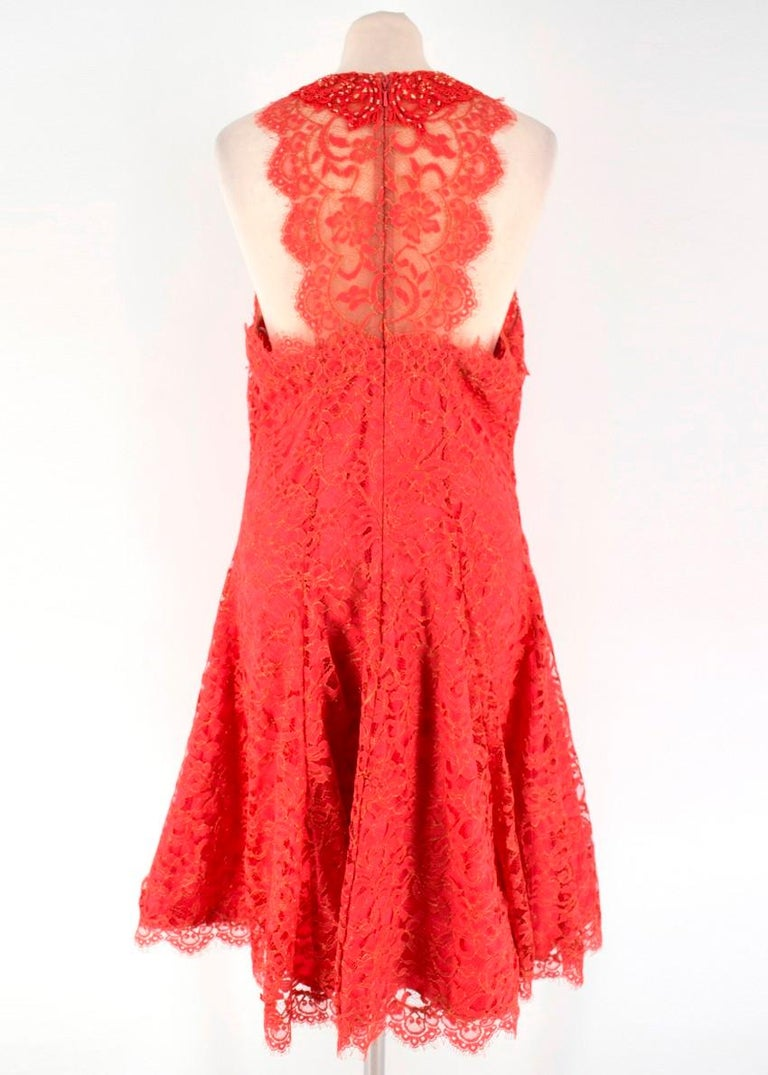 4b03c9ac Marchesa Notte Red Lace Embellished Dress US 10 In New Condition For Sale  In London,
