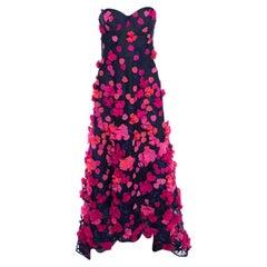 Marchesa Notte Royal Blue Floral Petal Applique Strapless Tulle High Low Gown L