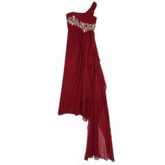 Marchesa One Shoulder Embellished Gown L