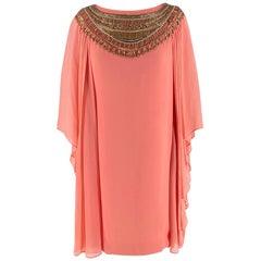 Marchesa Salmon Pink Silk Embellished Tunic - Size US 4