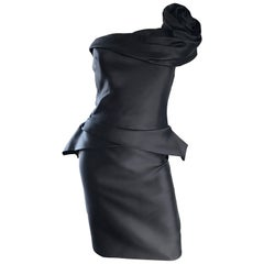 Marchesa Size 10 New Black Silk One Shoulder Rosette Avant Garde Cocktail Dress