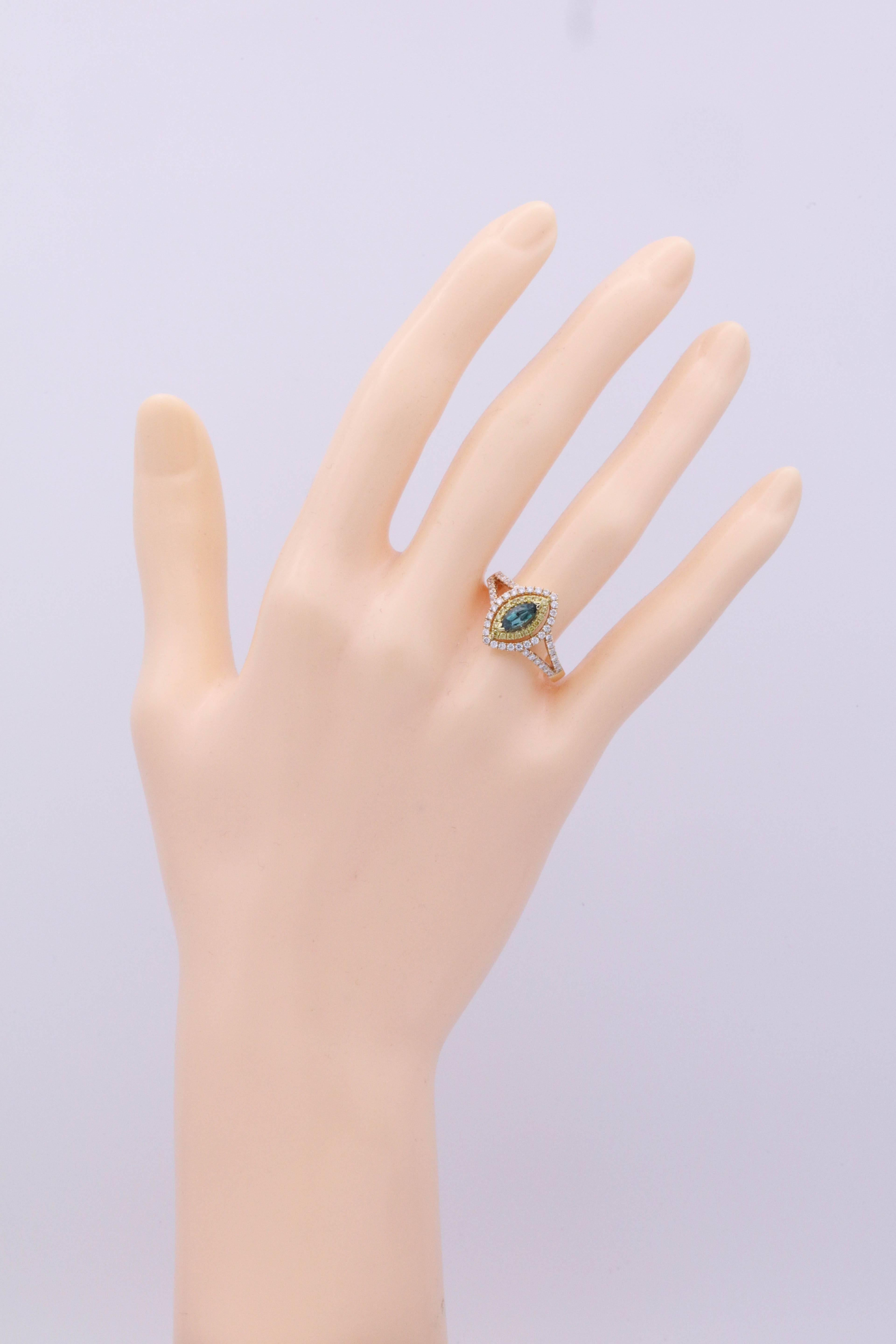 Marchese Shape Alexandrite Rose Gold and Diamond Ring with ...