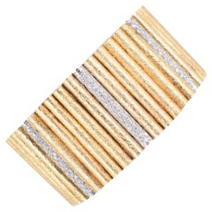 Marchisio 18 Karat Yellow and White Gold Texture with Diamond Rigid Bracelet