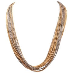 Marchisio 1970s Multi Strand 18 Karat Yellow and White Gold Chain Necklace
