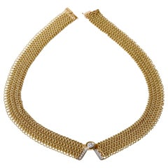 Marchisio Yellow Gold Necklace with V Motif with Diamonds
