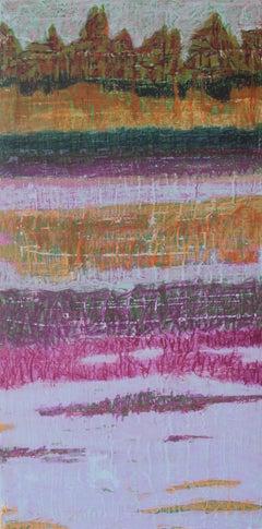 """Stoneybrook"", Marcia Wise, acrylic, pastel, abstract, greens, magentas, blues"