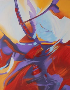 """""""Acceso"""", abstract, oil painting, reds, oranges, yellows, blues, purples"""