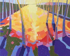 """""""Light My Way Home"""", oil painting, landscape, yellows, greens, blues, pink"""