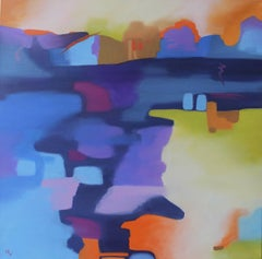"""""""Scena"""", oil painting, abstract, landscape, blues, violets"""