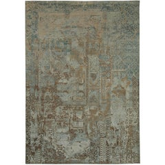 """Marcian"" Blue Beige Wool/Silk Hand-Knotted Area Rug"