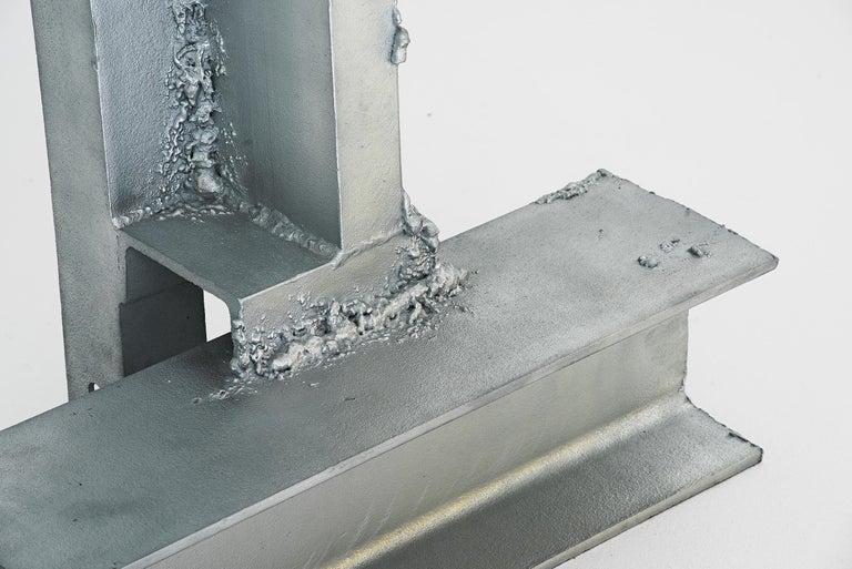 "Marcin Rusak, (1987-)  Floor lamp model ""Tamed 01"" Manufactured by Marcin Rusak Produced in exclusive for Side Gallery London, 2019 Real leaves metallised with zinc, found metal  Measurements 125 cm x 100 cm x 225 h cm 49.2 in x 39.4 in x"