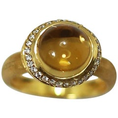 Marco Bicego 18 Karat Gold and Lemon Citrine and Diamond Ring