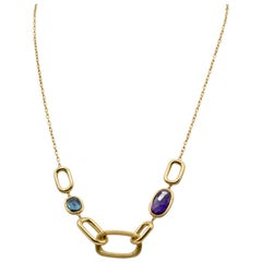 Marco Bicego 18 Karat Gold Necklace Murano Link Amethyst and Blue Topaz