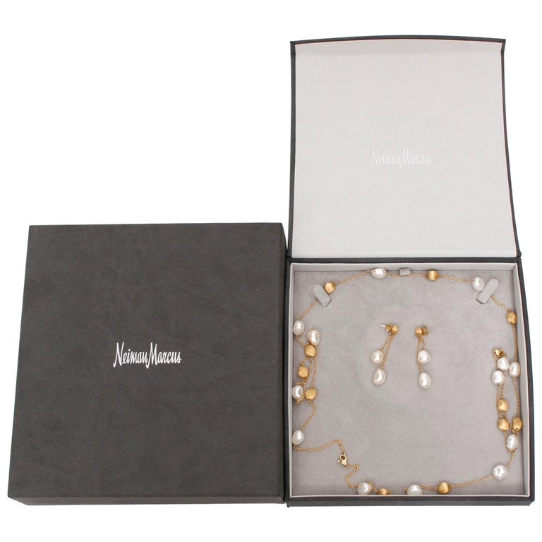 Marco Bicego 18 Karat Yellow Gold and Pearl Necklace, Earrings and Bracelet Set For Sale