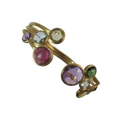 Marco Bicego 18 Karat Yellow Gold Hinged Bracelet with Semi Precious Stones