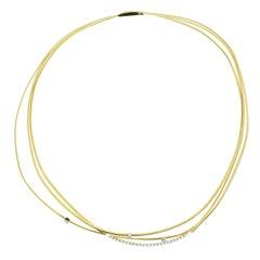 Marco Bicego 18 Karat Yellow Gold Three-Strand Diamond Set Necklace