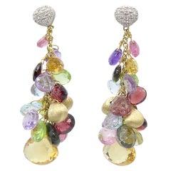 Marco Bicego 18k Two-Tone Gold Diamond & Multicolored Stones Aruba Mix Earrings