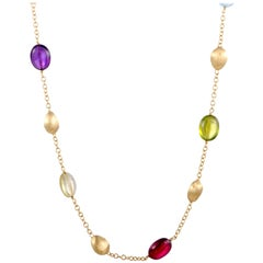Marco Bicego 18 Karat Yellow Gold and Multiple Gemstone Necklace
