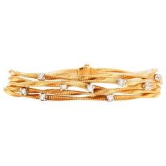 Marco Bicego 5 Strand Diamond 18 Karat Coiled Wire Bracelet