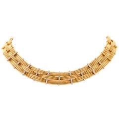 Marco Bicego 9-Strand Diamond Woven Choker 18 Karat Gold Necklace