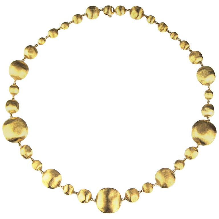 Marco Bicego Africa, 18 Karat Yellow Gold Single Strang Mixed Beads Necklace For Sale