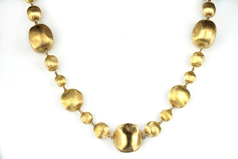 Marco Bicego Africa, 18 Karat Yellow Gold Single Strang Mixed Beads Necklace In Excellent Condition For Sale In London, GB