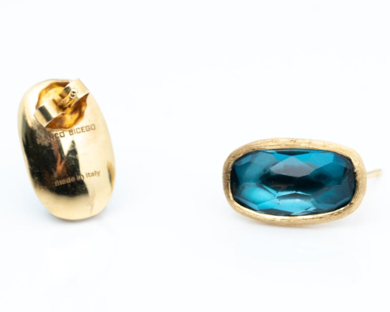 Modern MarCo Bicego Blue Topaz and 18 Karat Yellow Gold Earrings For Sale