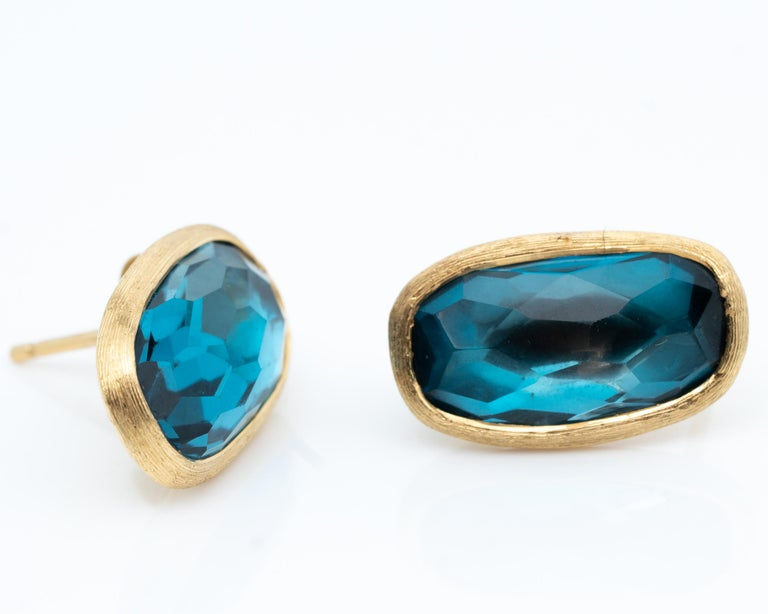 Oval Cut MarCo Bicego Blue Topaz and 18 Karat Yellow Gold Earrings For Sale