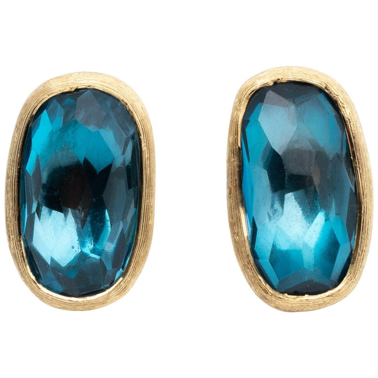 MarCo Bicego Blue Topaz and 18 Karat Yellow Gold Earrings For Sale