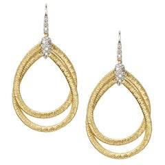 Marco Bicego Cairo Gold and Diamond Small Drop Woven Earrings OG325 B YW M5