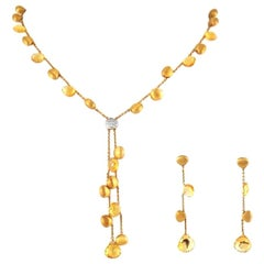 Marco Bicego Citrine 18 Karat Gold Necklace Earrings Set