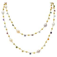 Marco Bicego Cultured Pearl Citrine Topaz Multi Gemstone 18 Karat Gold Necklace