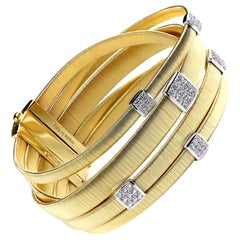 Marco Bicego Five-Strand Maisai Bracelet with Diamonds in Yellow and White Gold