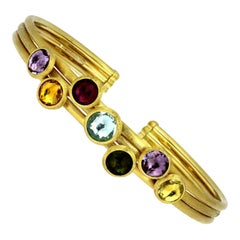 Marco Bicego Jaipur Bracelet in 18 Carat Yellow Gold with Multi Gems Amethyst