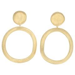 Marco Bicego Jaipur Circle Drop Earrings, 18 Karat Gold Pierced Dangles OB873 Y