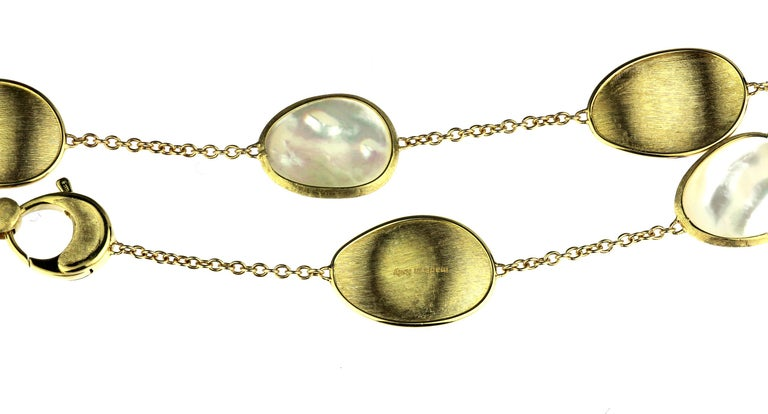 Cabochon Marco Bicego Lunaria 18 Karat Yellow Gold White Mother of Pearl Long Necklace For Sale