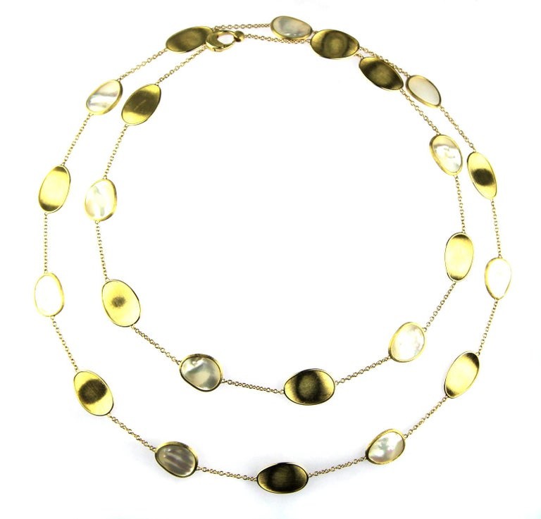Marco Bicego Lunaria 18 Karat Yellow Gold White Mother of Pearl Long Necklace In Excellent Condition For Sale In London, GB