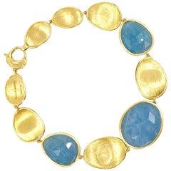 Marco Bicego Lunaria 18 Karat Gold and Aquamarine Bracelet