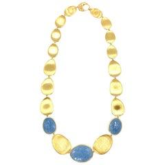 Marco Bicego Lunaria 18 Karat Gold and Aquamarine Necklace